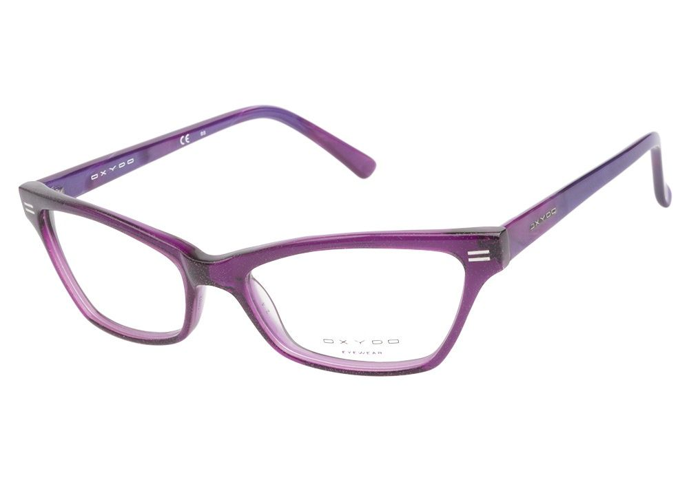 Oxydo OX499 FN1 Cyclamen Violet eyeglasses are dazzlingly flirtatious. This dramatic cateye style has a semi-transparent glittery purple finish composed from handmade acetate and accented with silver from @CoastalDotCom