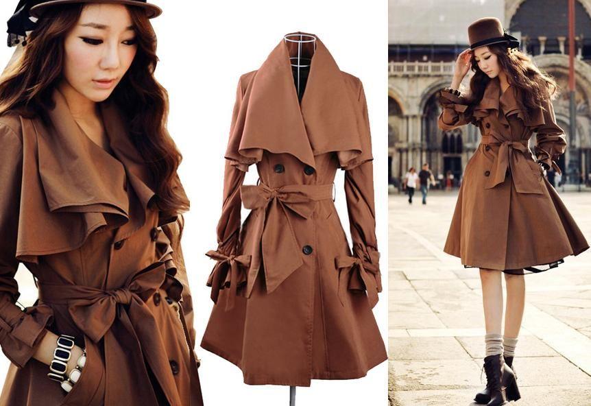 Plaszcz Damski Trencz Wiosenny Brazowy Slim M 38 5187924283 Oficjalne Archiwum Allegro Trench Coat Long Trench Coat Trench Coats Women Long