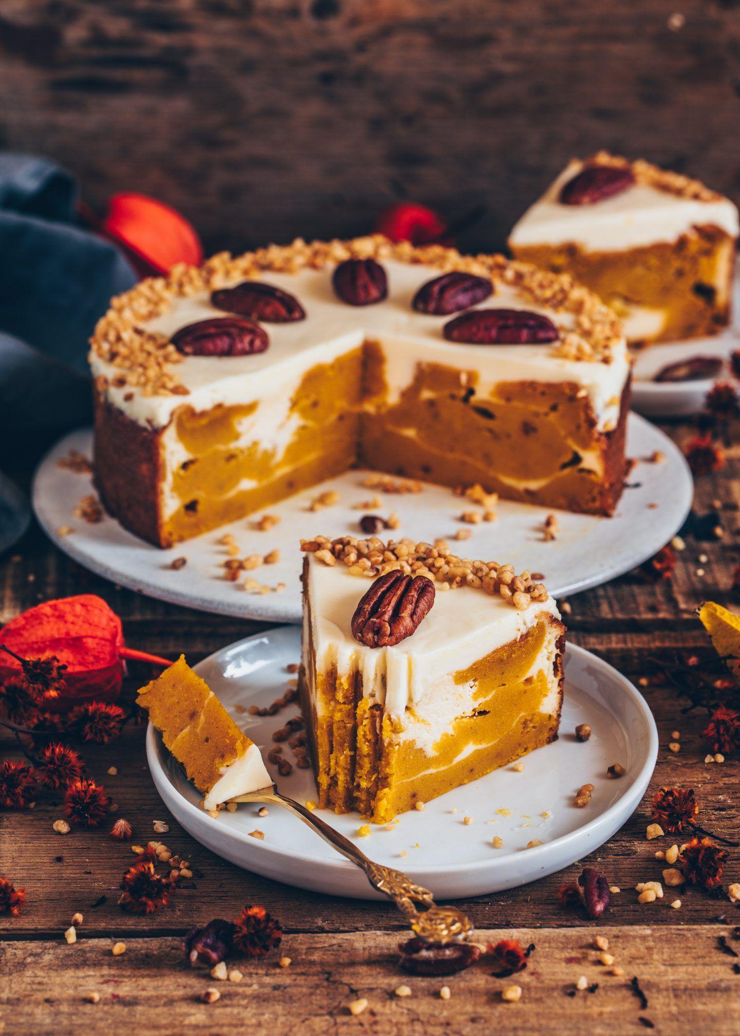 Kürbiskuchen mit Cheesecake-Swirl (vegan #pumpkindesserts