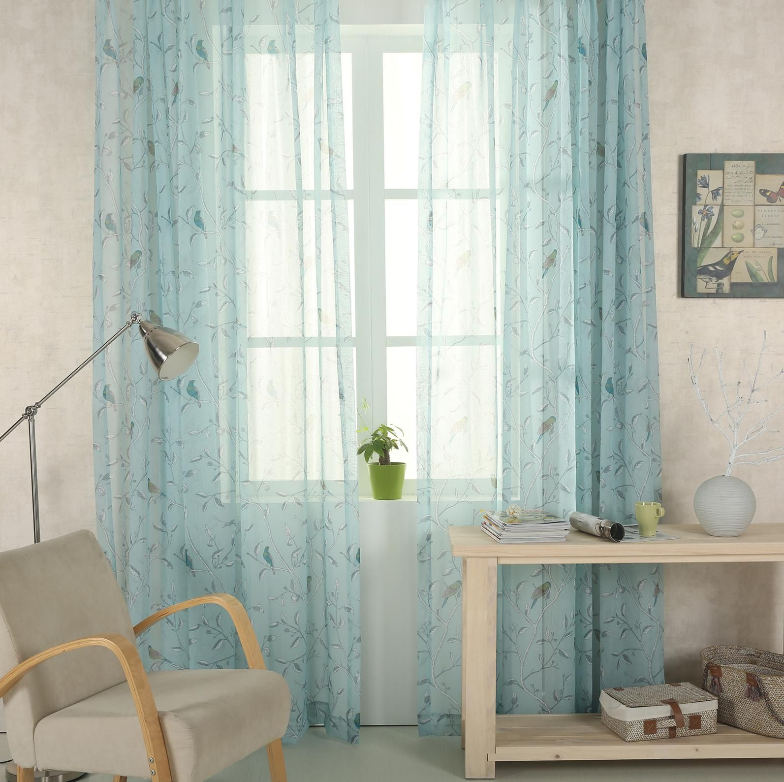 Oriental bird voile panel curtainsathome birds curtains