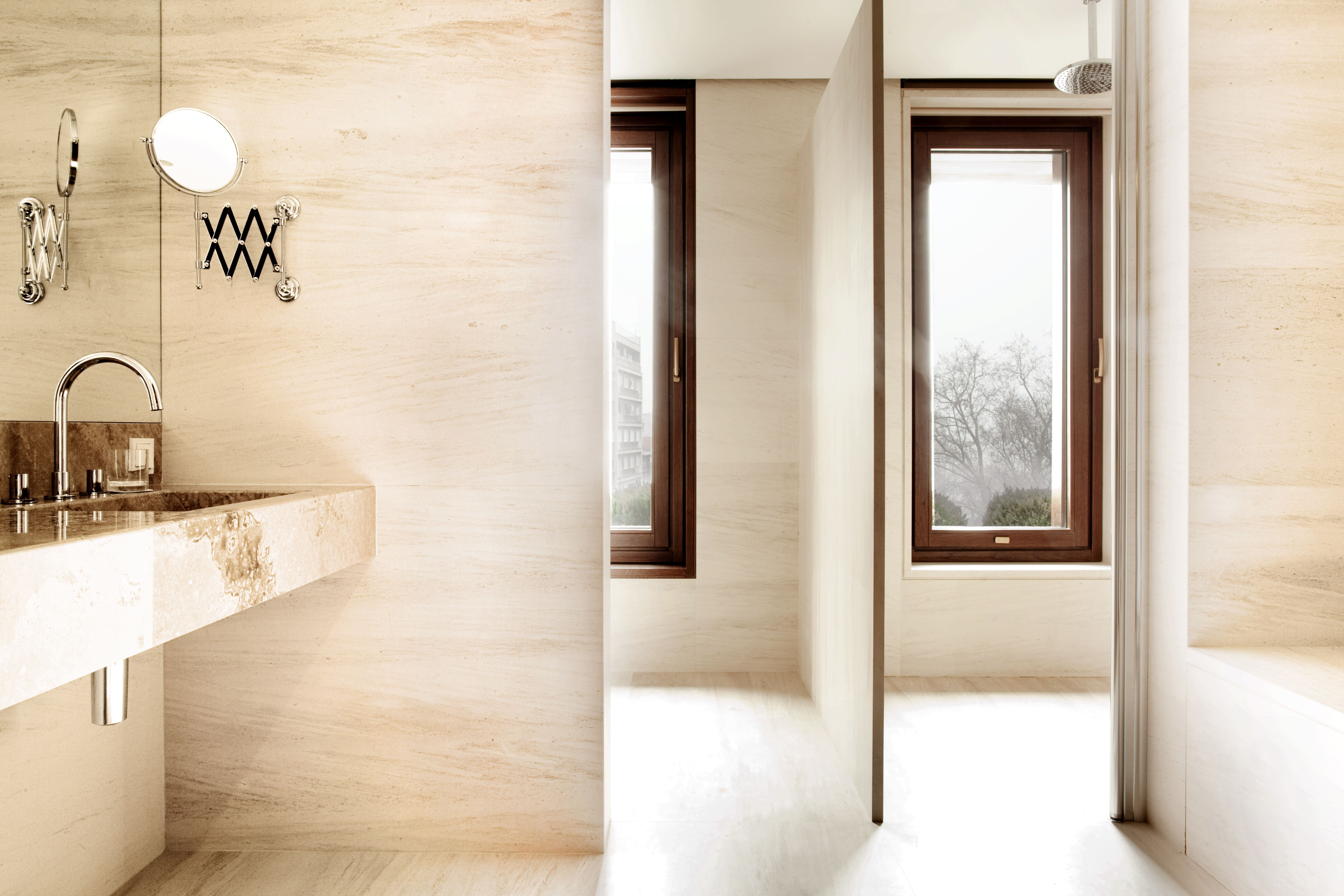 Crema Rosal marble & Onyx Travertine onyx. #bathroom #interior ...