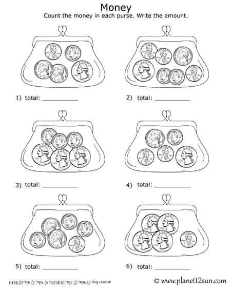 Free printable black & white worksheet. Adding Coins in the purse ...