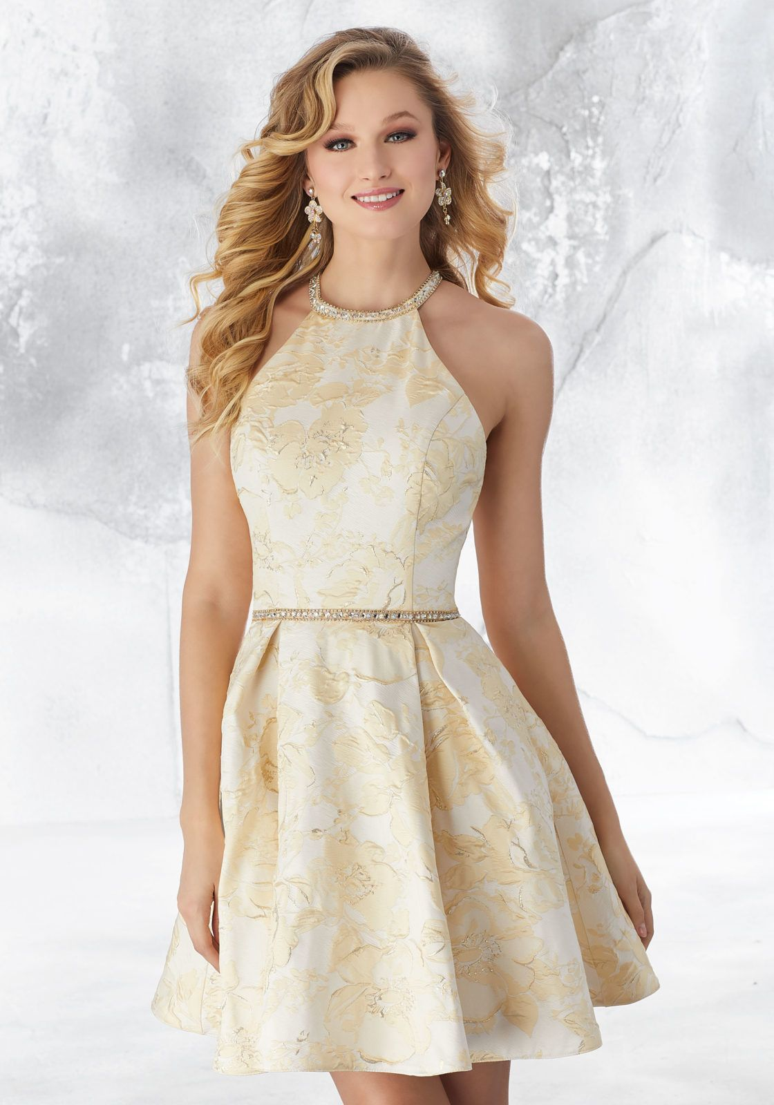 5320a682f0 Brocade Party Dress with Beaded Trim