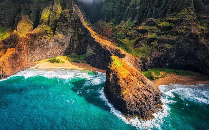 Download Wallpapers Hawaii Usa Rocks Ocean Mountains Coast Beach America With Images Hawaii Landscape Hawaii Beaches Hawaii Ocean