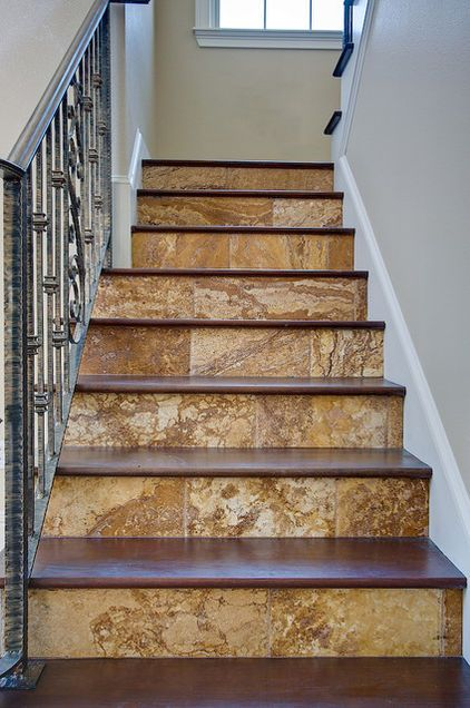 Tile And Wood Staris By Stone Mart Stairs Design Tile Stairs | Tile Risers On Wood Stairs | Stair Tread | Decorative | Wood Finish | Stair Outdoors | Wooden