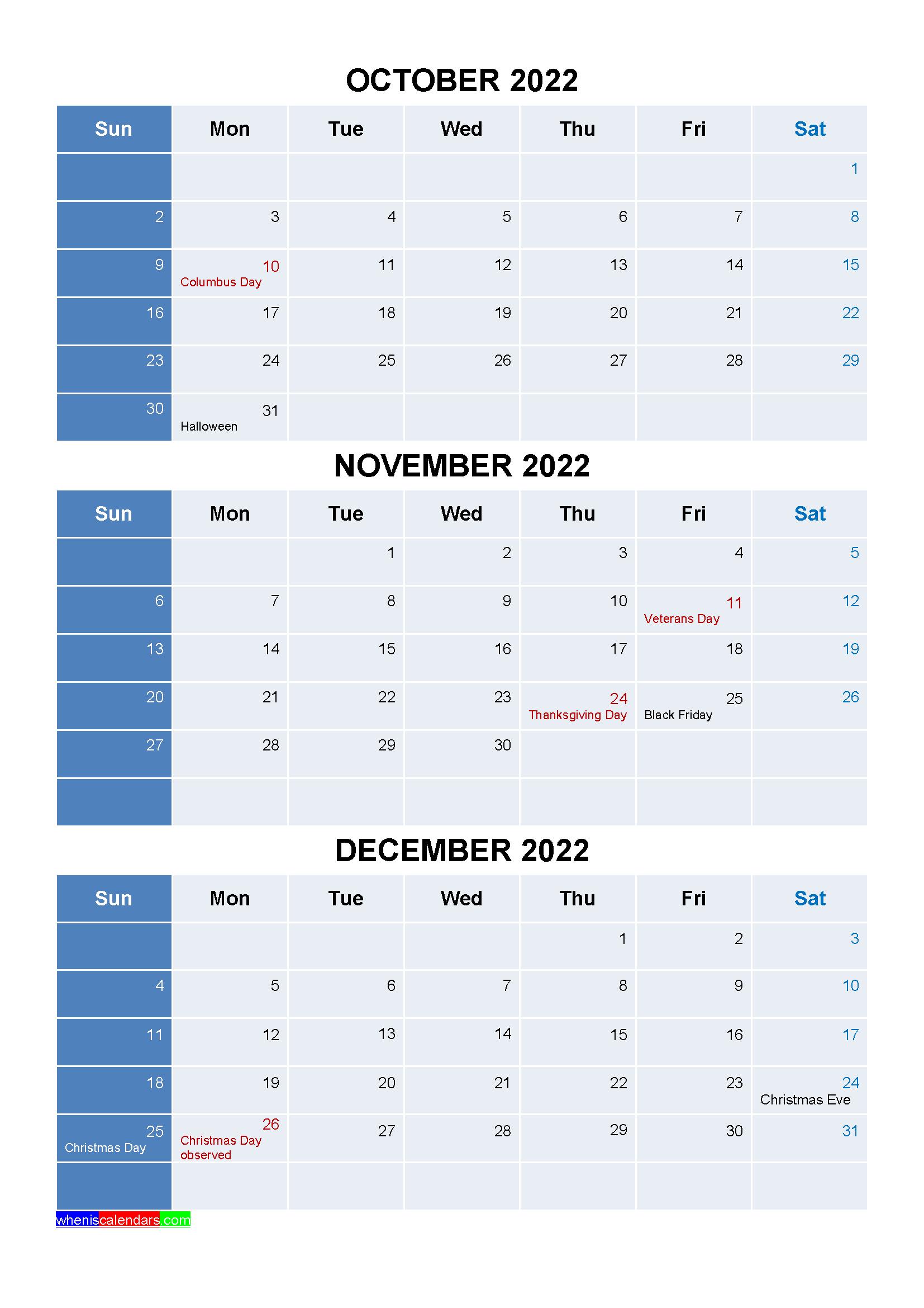 January February March 2022 Calendar.Free October November December 2022 Calendar With Holidays Four Quarters Calendar Printables Calendar Template 2021 Calendar