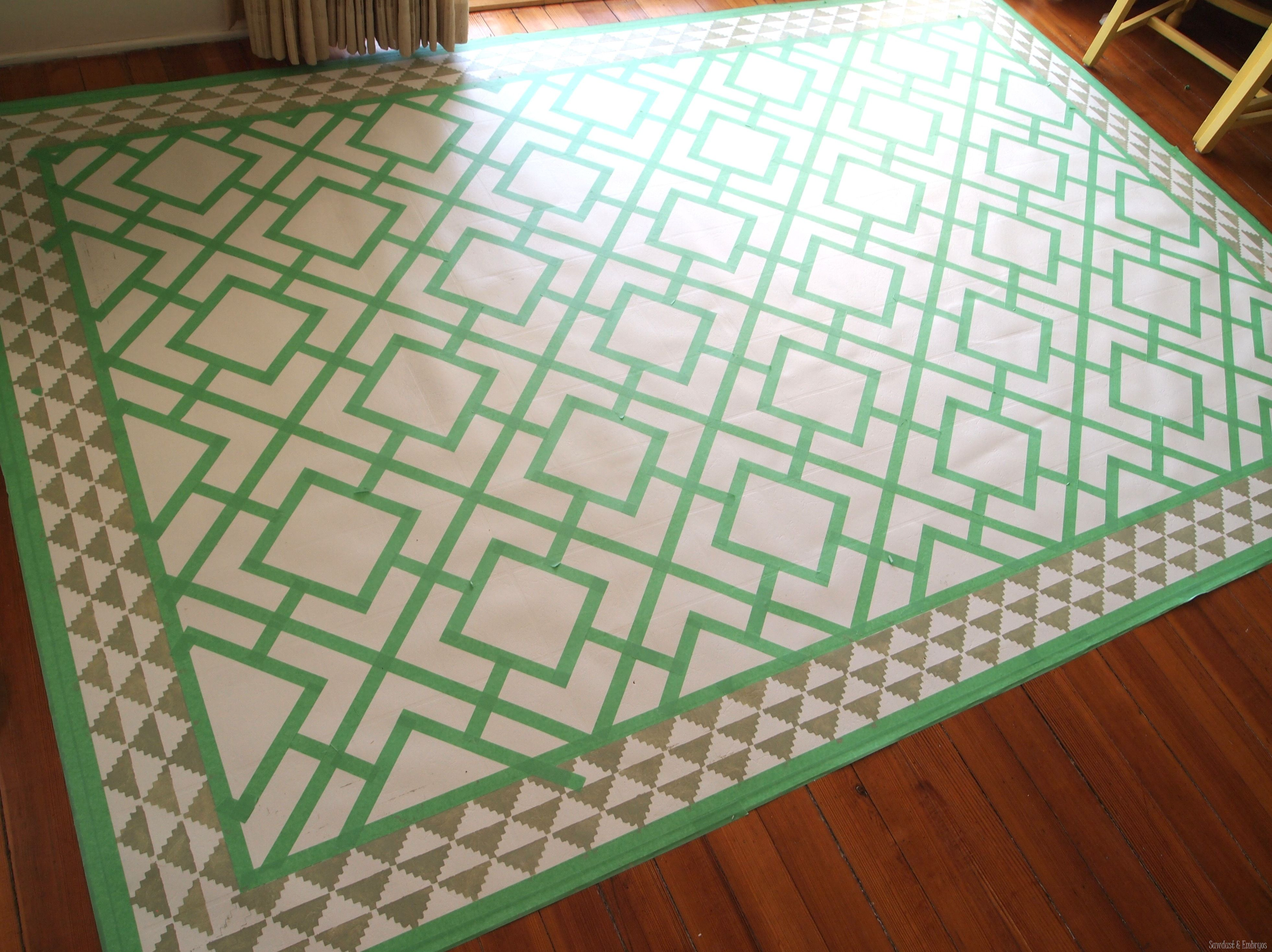 Paint A Remnant Of Linoleum To Look Like Legit Area Rug For Under Your Dining Table Sawdust And Embryos