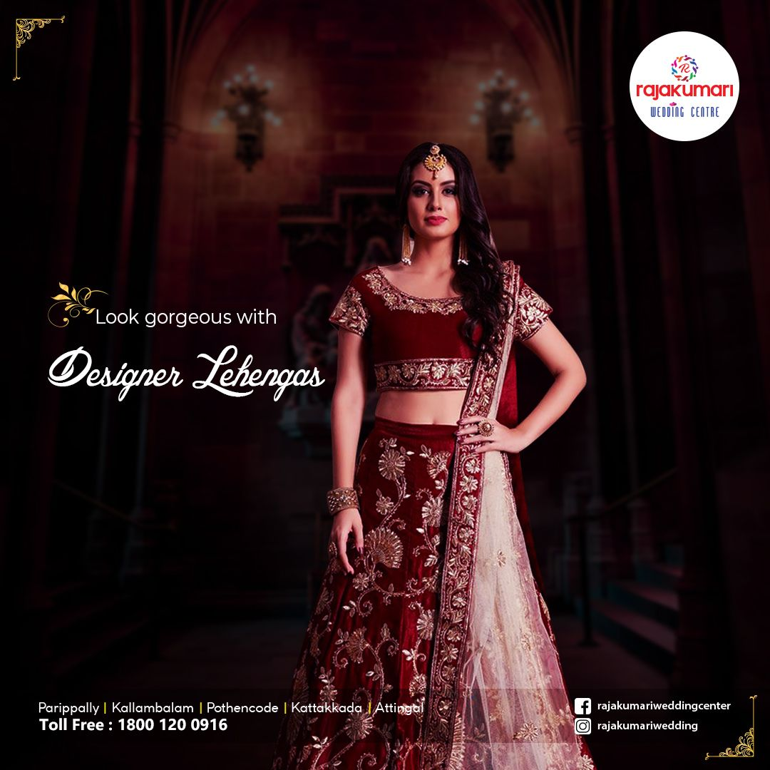 Look Gorgeous With Designer Lehengas From Rajakumari Wedding Center Rajakumarigroup Rajakumariweddin In 2020 With Images Bridal Collection Formal Dresses Long Wedding Boutique