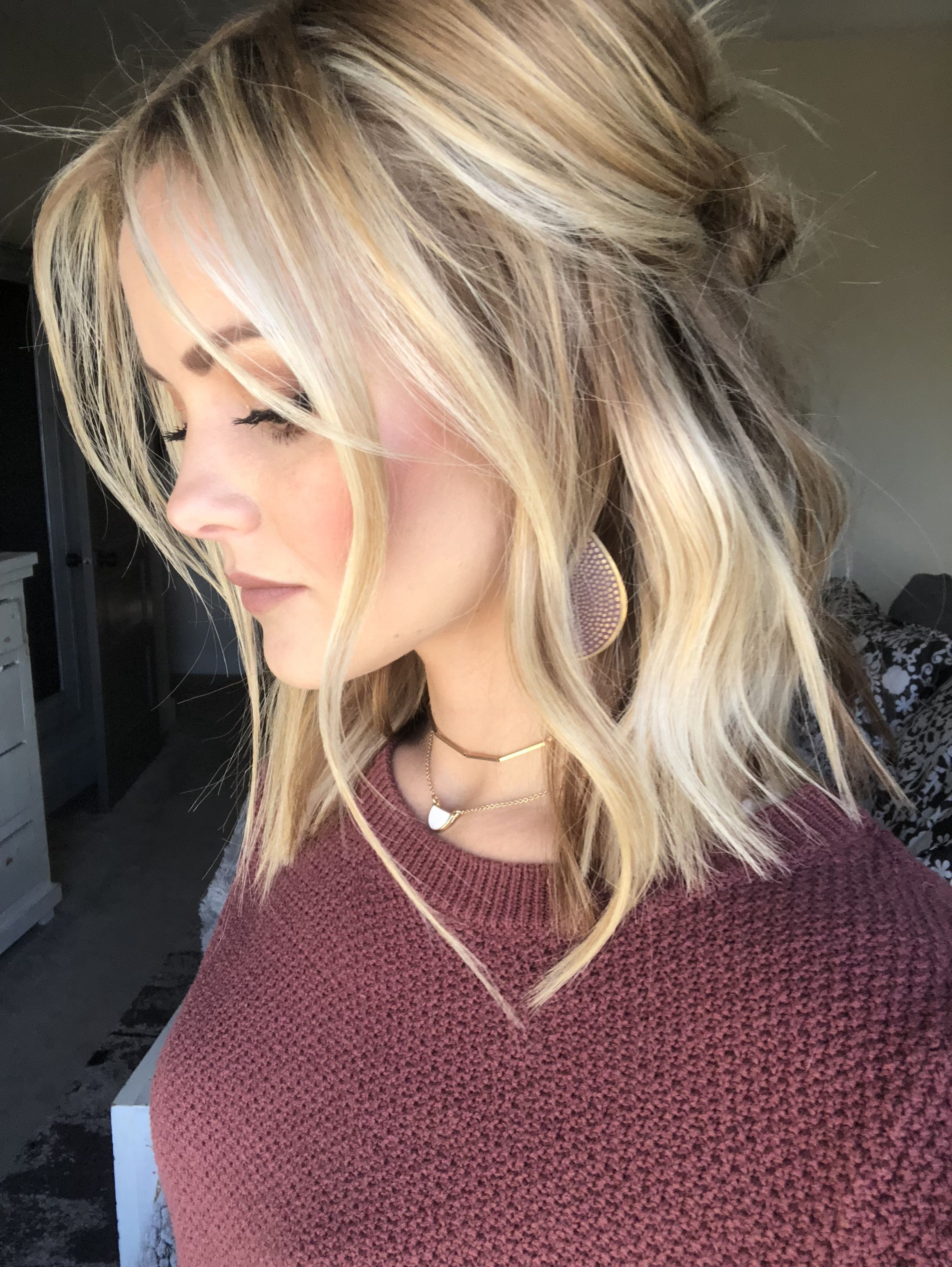 Half Up Wavy Medium Length Hairstyle Blonde Lob Hair Hair Styles Cool Blonde Hair