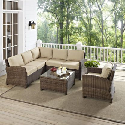 Crosley Biltmore 5 Piece Deep Seating Group with Cushions - Fabric: Sand