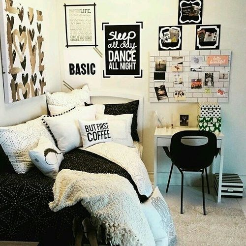 Room ideas. bed  bedroom  black and white  decor  decoration  desk  diy  girly