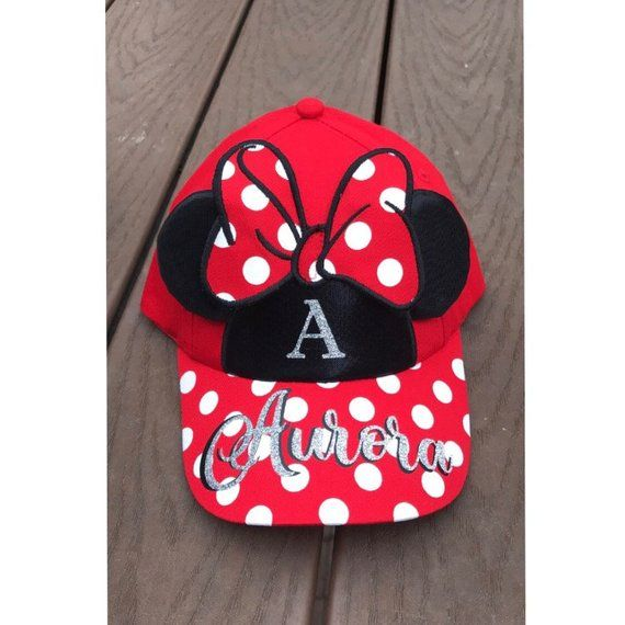 2b36a23989e322 Personalized Disney Minnie Mouse Ears Hat / Girls Disney Hat / Girls Minnie  Hat / Family Disney Trip