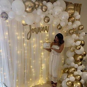 White and Gold Balloon Garland Kit - White Balloon