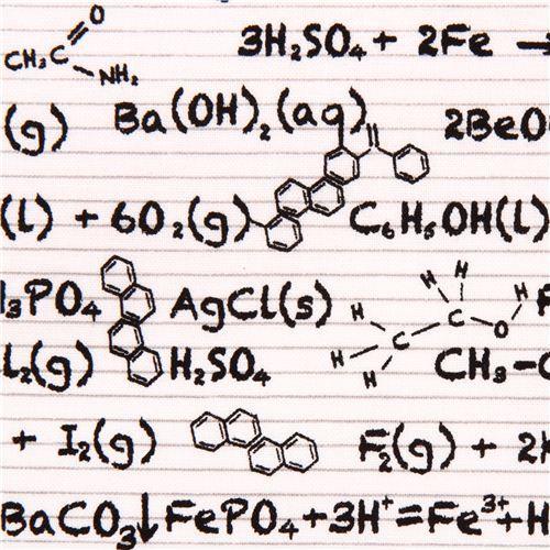 white Riley Blake chalk board chemical 'Equation' fabric Novelty 2