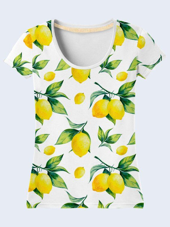 8f4c0ef42e4 Lemon T Shirt, White T Shirt, Colorful Ladies Top, Summer Clothing,  Patterned Womens Shirts, Short S