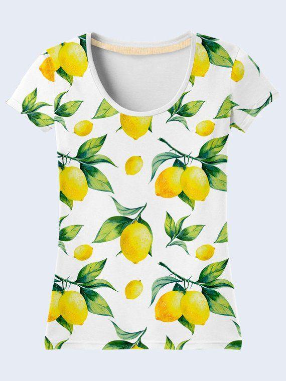 1f3410b80 Lemon T Shirt, White T Shirt, Colorful Ladies Top, Summer Clothing,  Patterned Womens Shirts, Short S