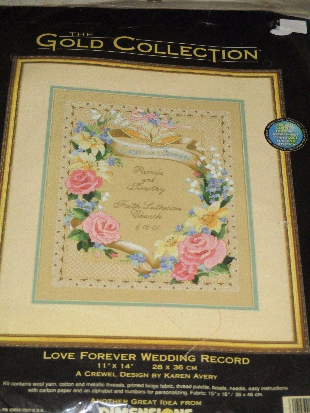 Simple Roses Wedding Record Dimensions Crewel Embroidery Kit