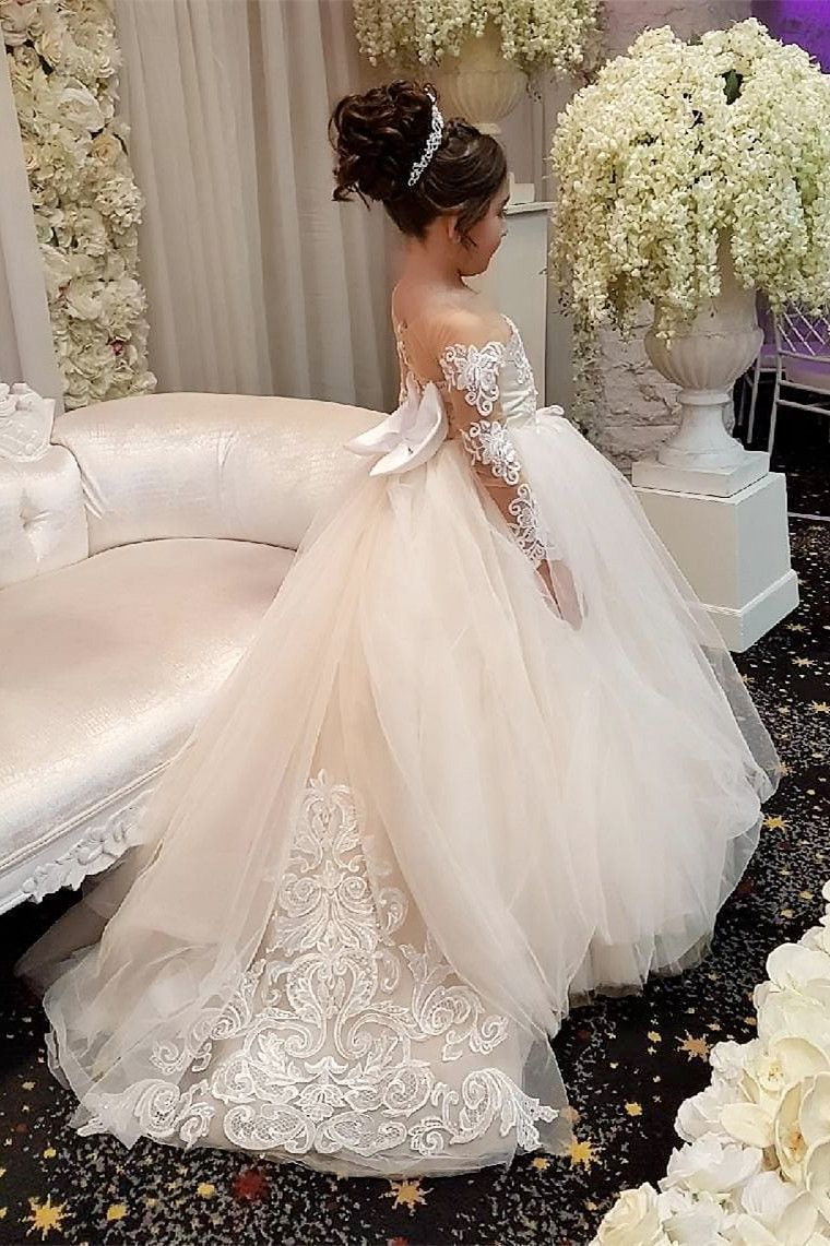 93de9c940cb Princess Long Sleeves Long Flower Girl Dress with Train in 2019 ...