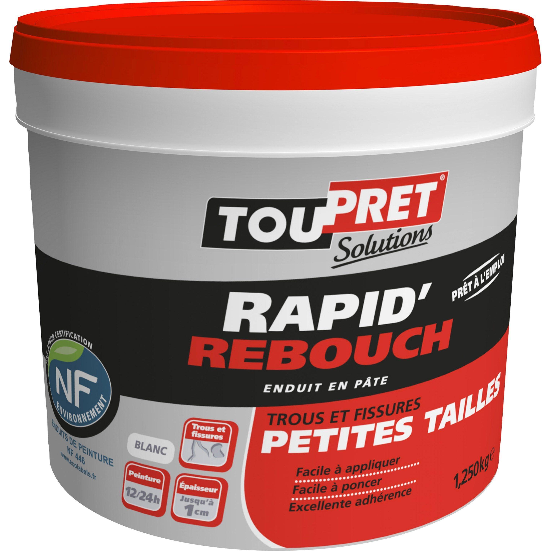 Toile À Enduire Plafond enduit de rebouchage toupret rapid rebouch 1.25 kg en pâte
