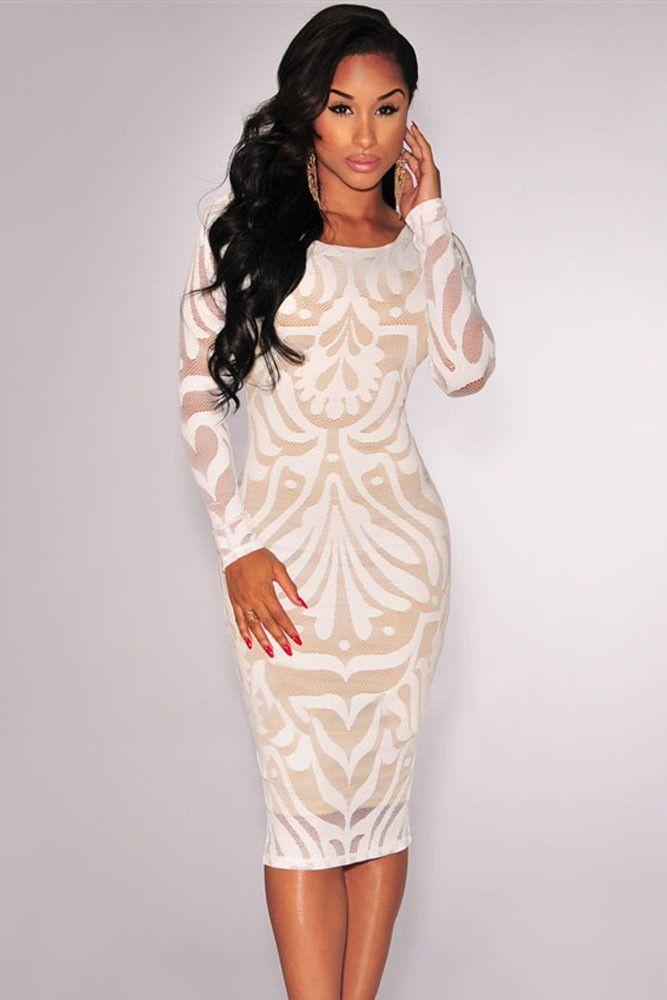All white plus sizes body con dress