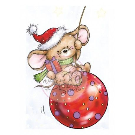 Tampon Dessin Wild Rose Studio Souris Bonnet Et Boule De Noel