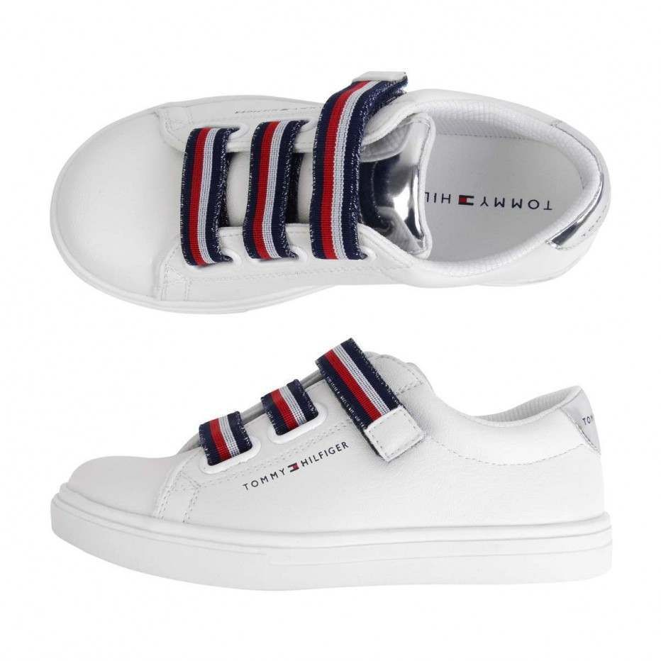 e1df7bc68 Tommy Hilfiger White Low Cut Velcro Sneakers - Sneakers - Category - Shoes