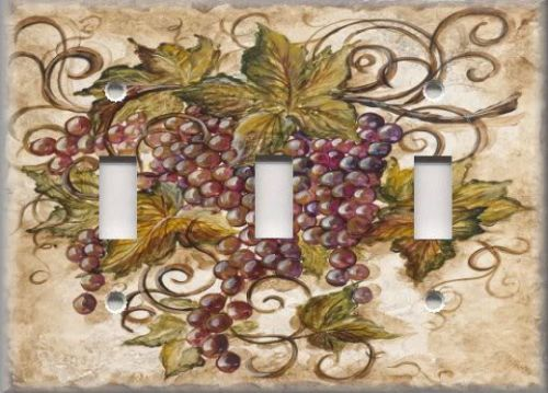 Light Switch Plate Cover   Tuscan Kitchen Decor   Red Tuscan Grapes   Home  Decor