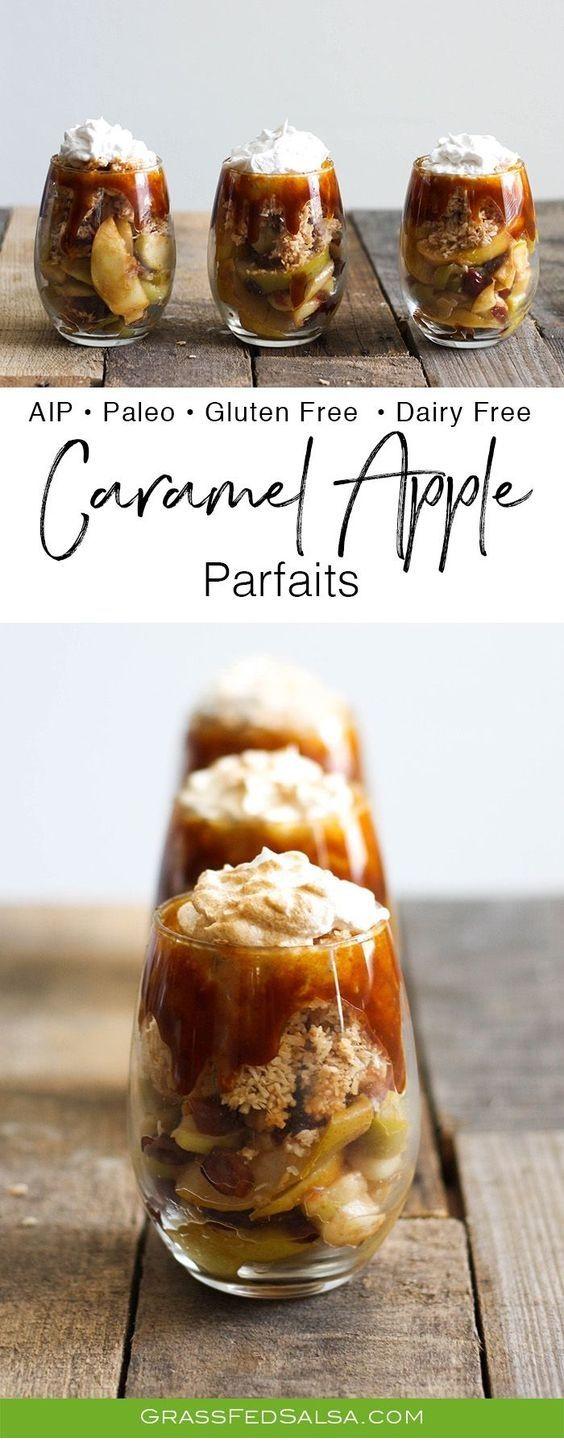 Salted Caramel Apple Parfaits  #thanksgivingrecipes