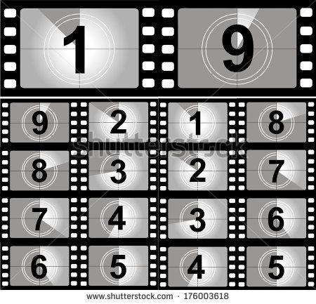 Film countdown numbers. Vector Illustration stock vector