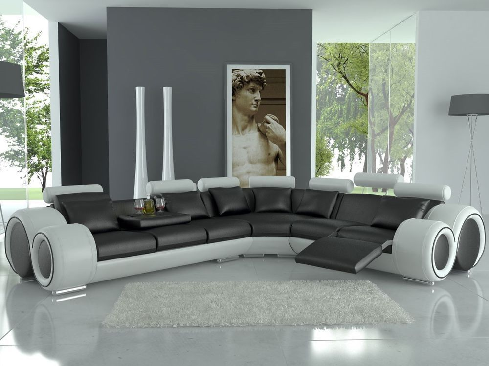 Modern Franco Leather Sectional Sofa Black White Modern Modern Sofa Sectional Sectional Sofa Sofa Design
