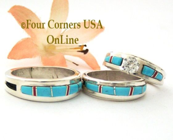 native american engagement wedding ring sets turquoise bridal engagement wedding band ring sets turquoise wedding rings wilbert muskett jr page 1 - Navajo Wedding Rings