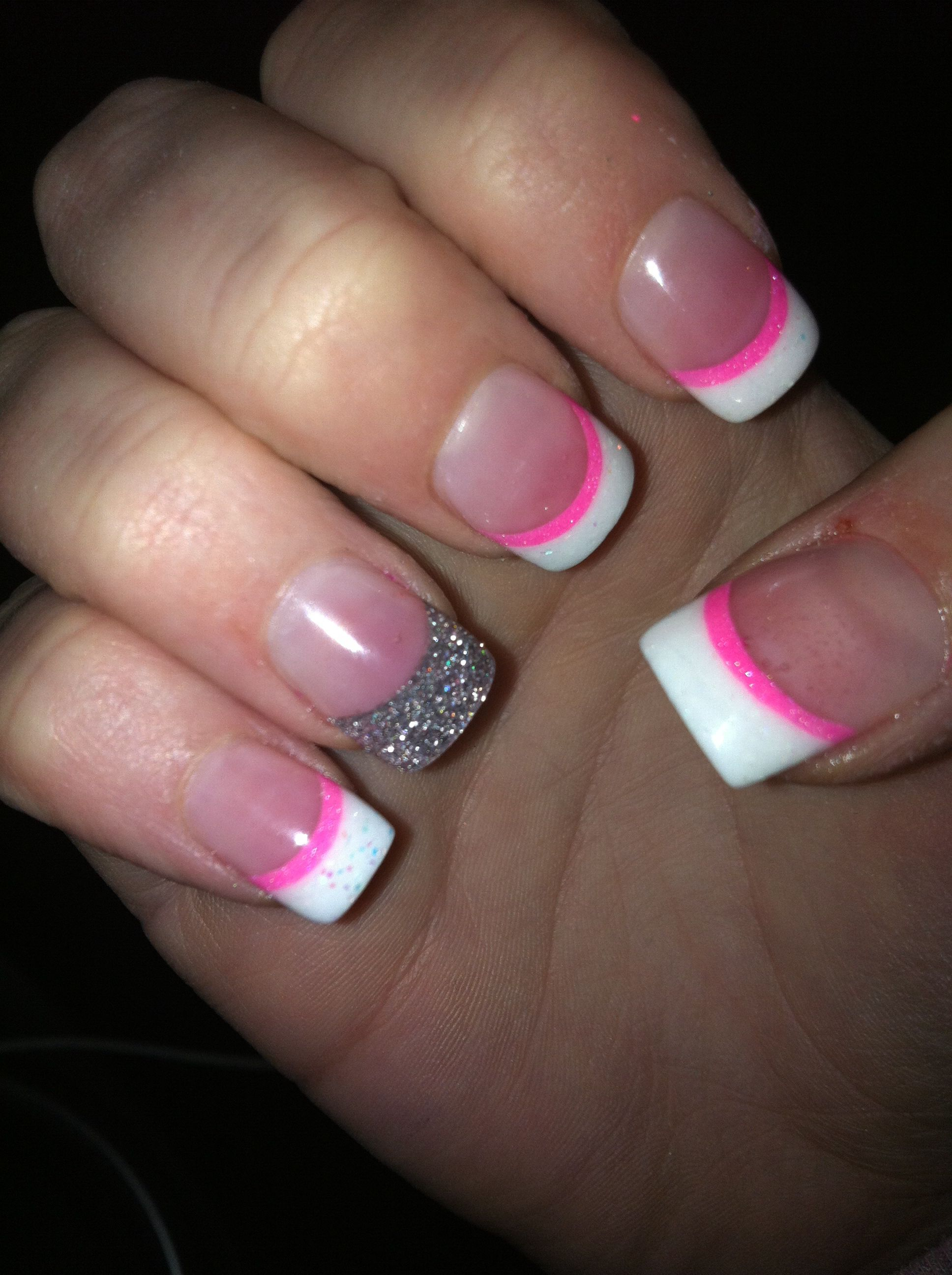 French Tip Acrylic With Pink Line And Glitter Accent Nail Love Them French Tip Nails Nails Glitter Accent Nails