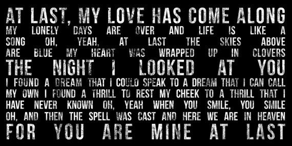 At Last My Love Has Come Lyrics