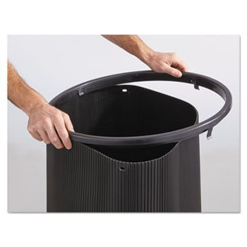 At-Your-Disposal Wastebasket, Round, Polyethylene, 5gal, Black/chrome