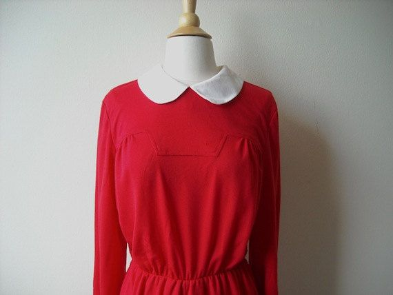 Vintage Red Peter Pan Collar Dress by Baxtervintage on Etsy, $20.00