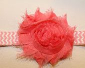 Single Shabby Rosette Headband on Coordinating CHEVRON Elastic. 2.5 inch Rosette. 5 Colors to choose from.