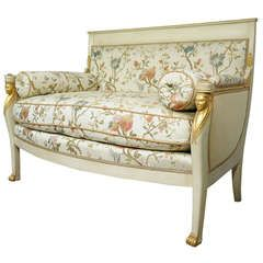 French Neoclassical / Empire Style Settee in Silk Scalamandre Fabric