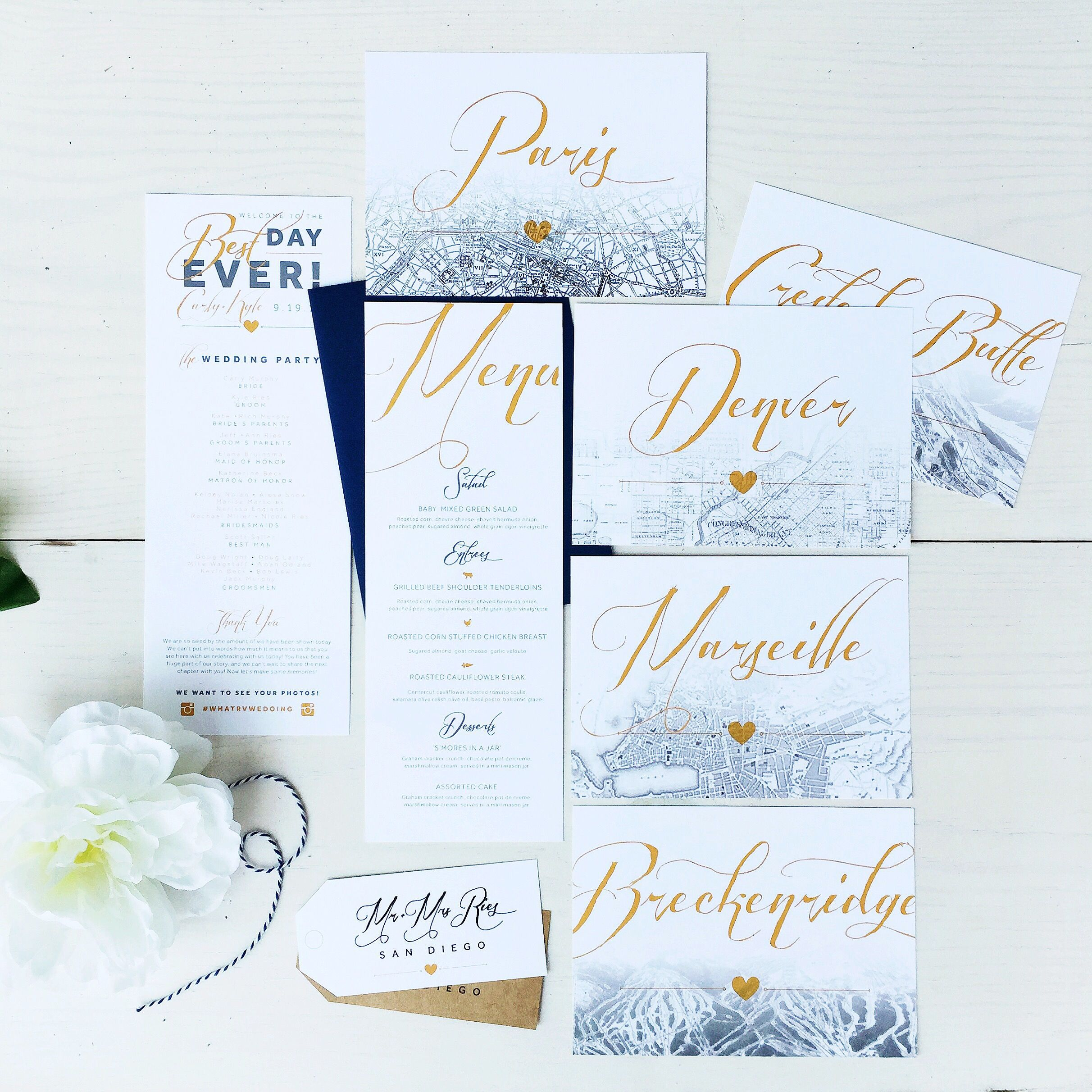 Travel Themed Custom Wedding Day Details: Table Numbers