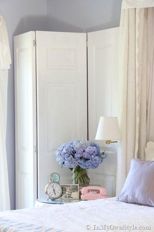 DIY pink folding screen made of vintage doors