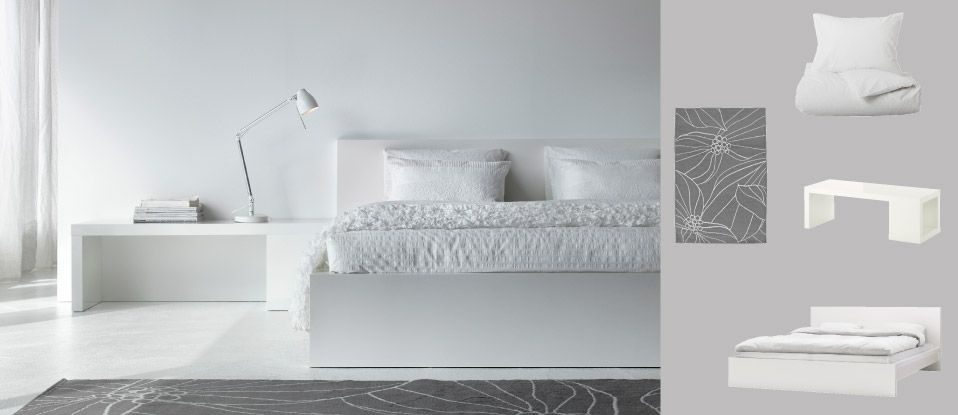 Ikea bedroom nyvol bed frame nyvol night stand alang wall lamp ...