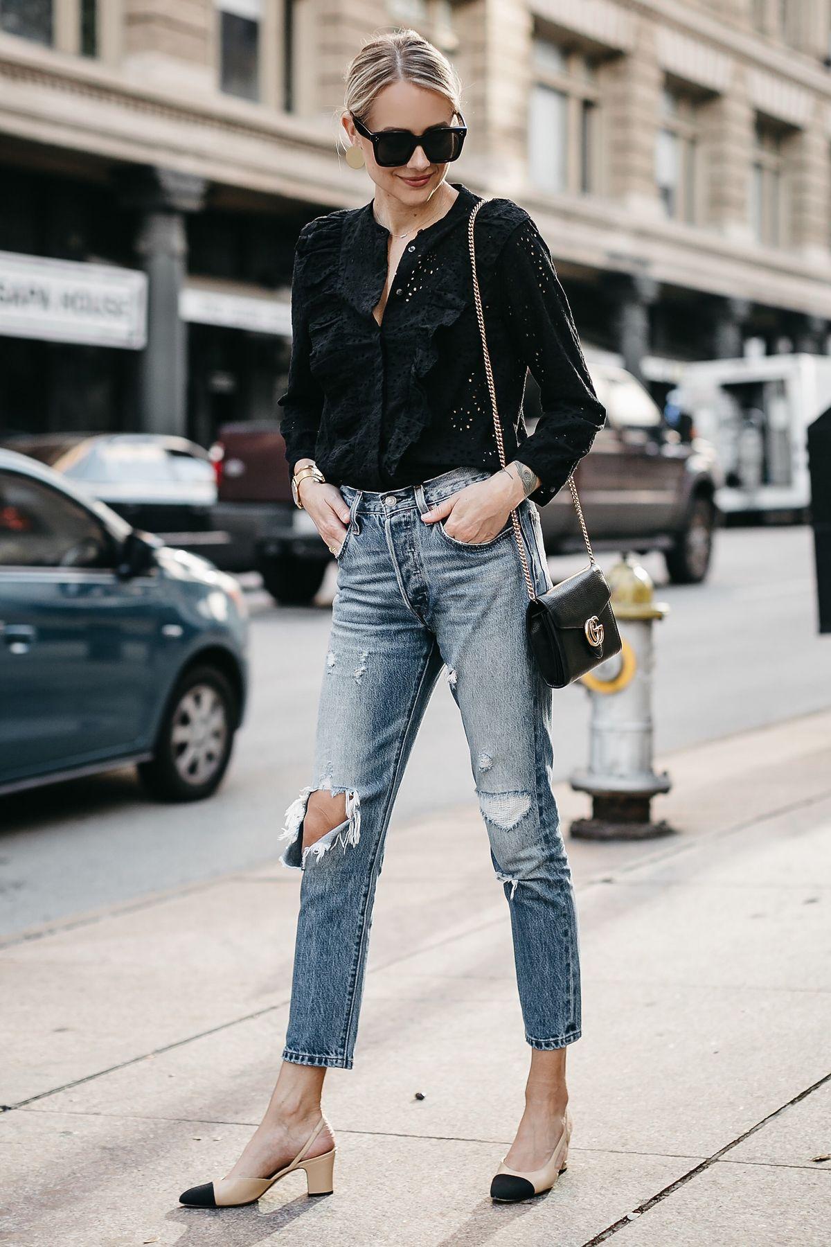 95748b9c Blonde Woman Wearing Madewell Black Eyelet Blouse Levis Denim Ripped Skinny  Jeans Chanel Slingbacks Gucci Marmont Handbag Fashion Jackson Dallas Blogger  ...