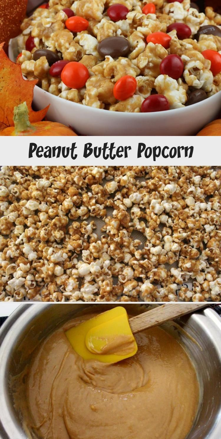 Peanut Butter Popcorn - sweet and salty popcorn covered in peanut butter and chock full of Peanut Butter M&M's. A delicious Peanut Butter dessert that is super easy to make! It would be a great Halloween Treat or a Fall movie night dessert! Pin this delicious popcorn recipe for later and follow us for more great Thanksgiving Food Ideas. #PeanutButter #PeanutButterDessert #Popcorn #PopcornRecipes #SweetPopcorn #FallDesserts #ThanksgivingTreats #FoodandDrinkFlashcards #FoodandDrinkCinnamonRolls #
