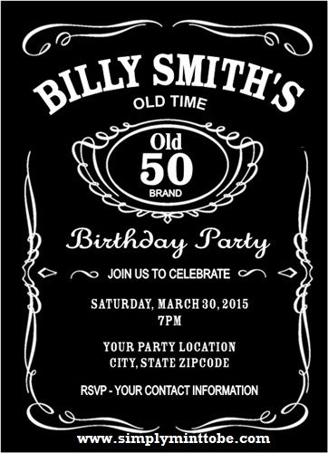 Diy Jack Daniels Inspired 50th Birthday Invitation 4x6 Personalized To Your Specifications Jack Daniels Party 50th Birthday Invitations Party Invite Template