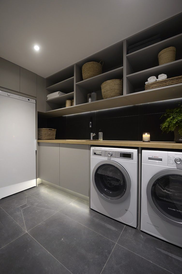 Taupe laundry l Modern and stylish laundry l Luxury laundry l Wrap up of the laundries, powder rooms and cellars on The Block l The Block Triple Threat