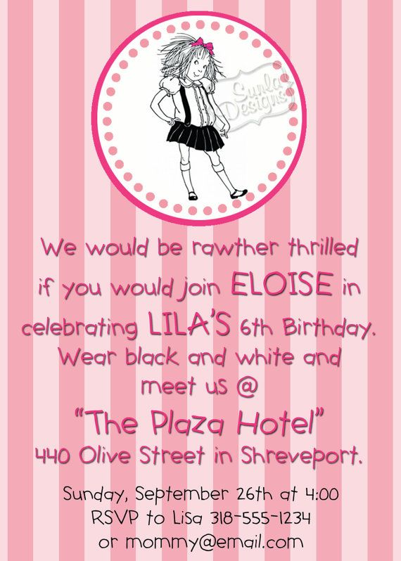 Eloise at the Plaza Hotel Birthday Party or Playdate Invitation – Little Girl Tea Party Invitations