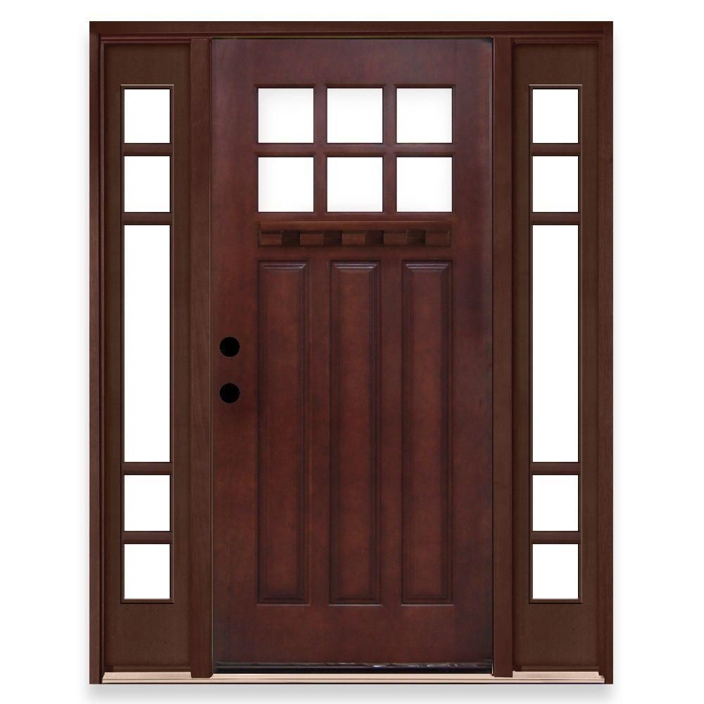 Steves Sons Craftsman 6 Lite Stained Mahogany Wood Right Hand Prehung Front Door With 5 Lite Sidelites Discontinued M3306 3316 12 4r The Home Depot Wood Entry Doors Craftsman Front Doors Wood Exterior Door