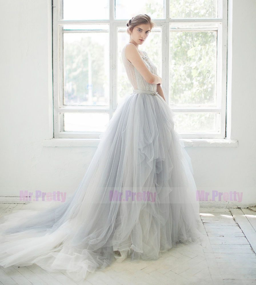 Gray/White Long Train Wedding/Bridal Party Tulle Skirts/Maxi Tulle ...