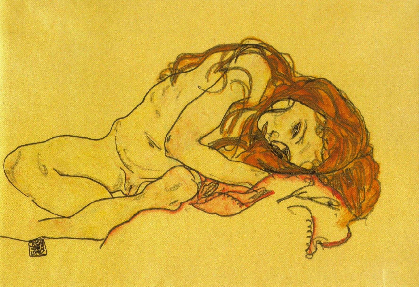 Egon Schiele: Kauerndes Mädchen mit Gesenktem Kopf 1918