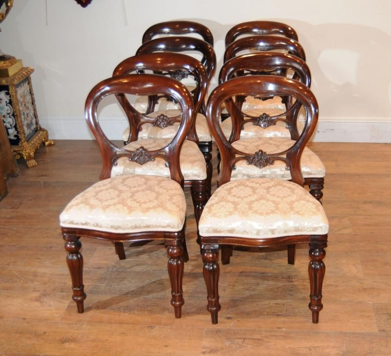 Victorian Era Dining Room: 8 Mahogany Victorian Dining Chairs Balloon Back