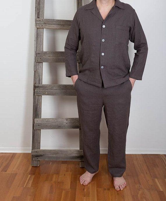 1d724fc17b3f Mens Linen Pajamas , Linen Sleepwear, Mens Linen night suit , Linen Pyjamas  Pants and Shirt, Linen Beachwear Made with 100% pure Washed softened linen.